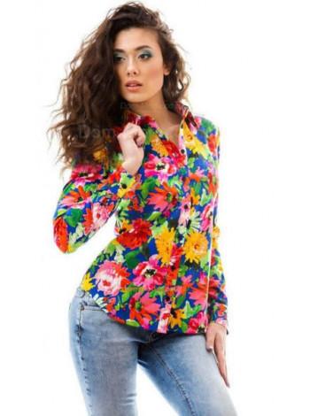 Женская модная рубашка в цветочный принт