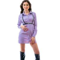Женское мини платье рубашка с длинным рукавом