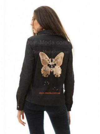 Женская стильная джинсовая рубашка с бабочкой на спине