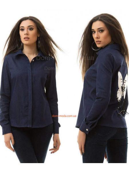 Жіноча стильна джинсова сорочка з метеликом на спині