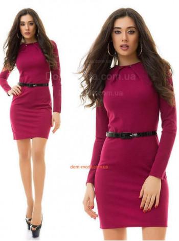 Женское стильное платье с шипами и поясом