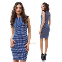 Женское модное трикотажное платье без рукав в принт