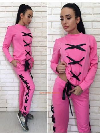 Женский модный спортивный костюм со шнуровкой