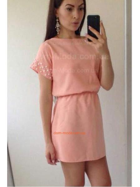 Літнє коротке плаття із рукавом