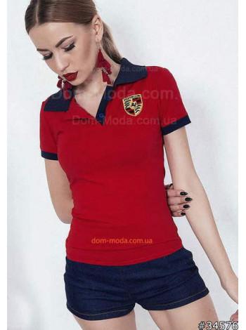 Модное женское поло красного цвета