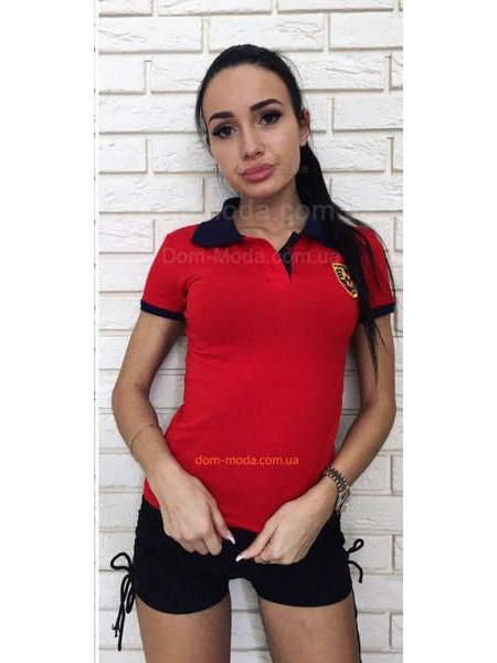 Модне жіноче поло червоного кольору батального розміру