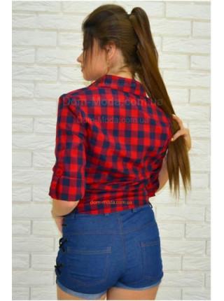 Жіноча модна клітчаста сорочка із довгим рукавом