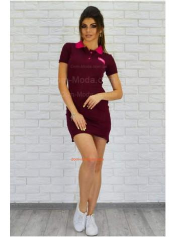 Короткое женское платье поло с воротничком большого размера
