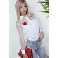 Жіноча модна сорочка із довгим рукавом в сітку