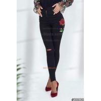 Жіночі стильні чорні джинси із вишивкою великого розміру