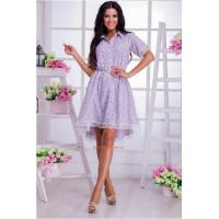 Женское летнее асимметричное платье с кружевом