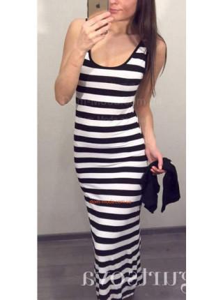 Женское летнее полосатое платье с топом