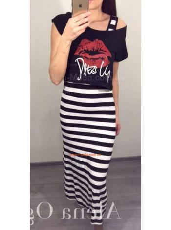 Жіноче літнє полосате плаття із топом