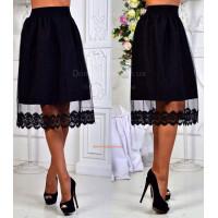 Модная классическая юбка с кружевом и сеткой