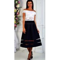 Женская юбка модная со вставками из сетки