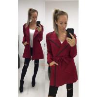 Жіноче модне пальто тренч з поясом