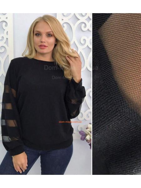 Женский свитер со вставками из сетки