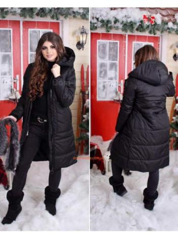 Женское теплое пальто на синтепоне и мехом