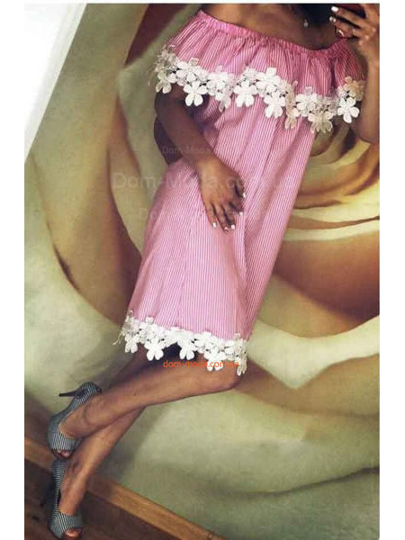 Сарафан летний с поясом розового и голубого цвета