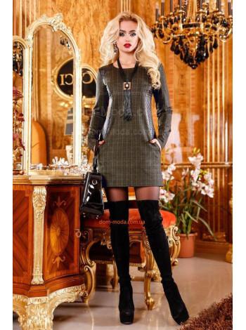 """Модное женское платье с длинным рукавом """"Кожа"""""""