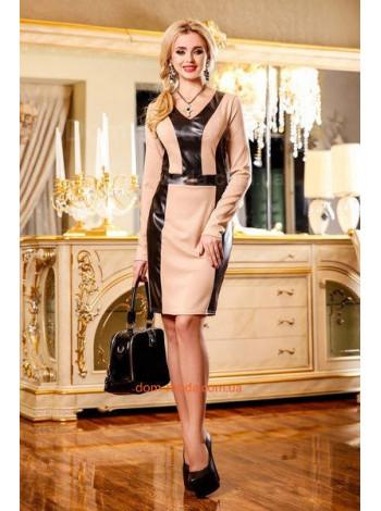 """Женское модное платье с кожаными вставками """"Marsela"""""""