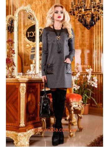 """Модное женское платье с длинным рукавом """"Кожанный карман"""""""