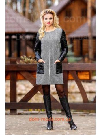 """Женское стильное платье с кожаными вставками """"liana"""""""