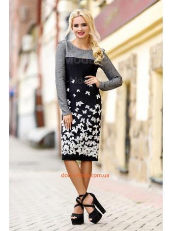 """Женское стильное платье с длинным рукавом """"Бабочки"""""""