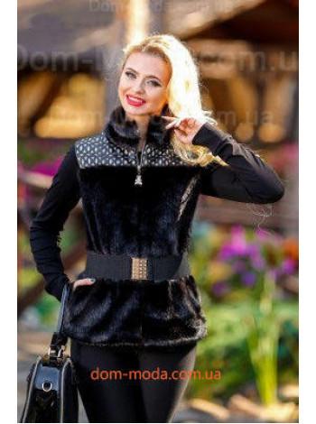 """Женская меховая жилетка с кожаными вставками """"Darina"""""""