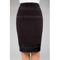 Женская стильная юбка с кожаной вставкой большого размера
