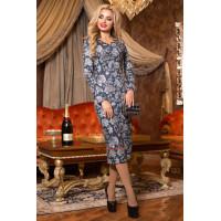 Модне жіноче плаття міді з рукавом