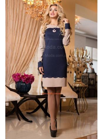 Трикотажное короткое платье с длинным рукавом