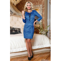 Модное замшевое платье с рукавом