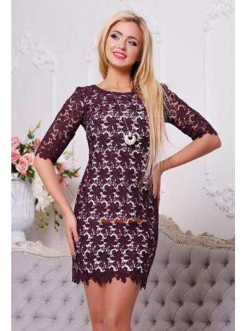 Вечернее короткое платье с рукавом