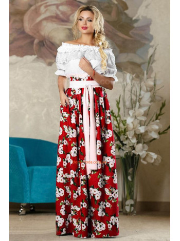 """Длинная летняя юбка лен """"Цветочный принт"""""""