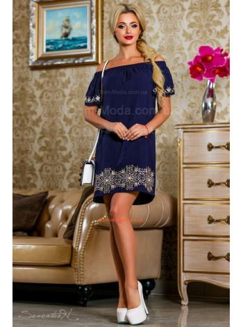 Стильное женское короткое летнее платье с открытыми плечами