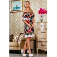 Стильное женское летнее платье в принт с открытыми плечами