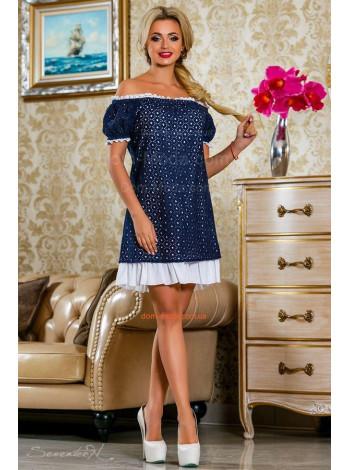 Модное летнее платье с открытыми плечами и рукавом фонариком