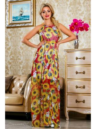 Модный женский макси сарафан с подсолнухами