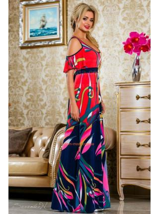 Легкое женское платье макси с открытыми плечами