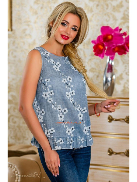 Стильная летняя женская блузка без рукав