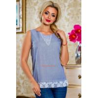 Летняя женская голубая блуза без рукав