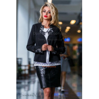 Стильный женский классический пиджак с кружевом