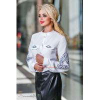 Жіноча біла стильна блуза із довгим рукавом