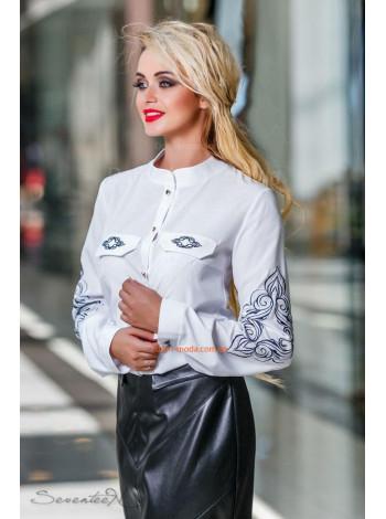 Женская белая стильная блуза с длинным рукавом