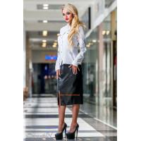 Стильная кожная юбка с высокой талией