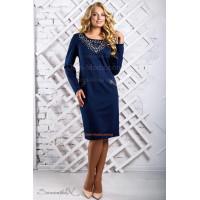 Женское стильное платье с длинным рукавом и перфорацией