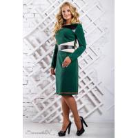 Стильное платье за колено со вставками кожи