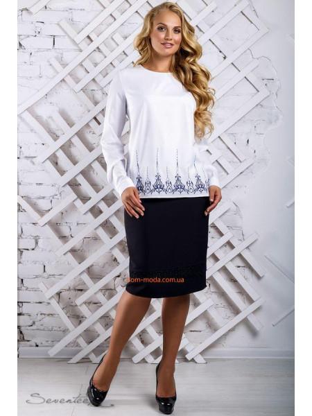 Стильная легкая блуза с длинным рукавом большого размера