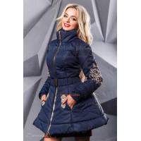 Женское стильное пальто с пышной юбкой и поясом